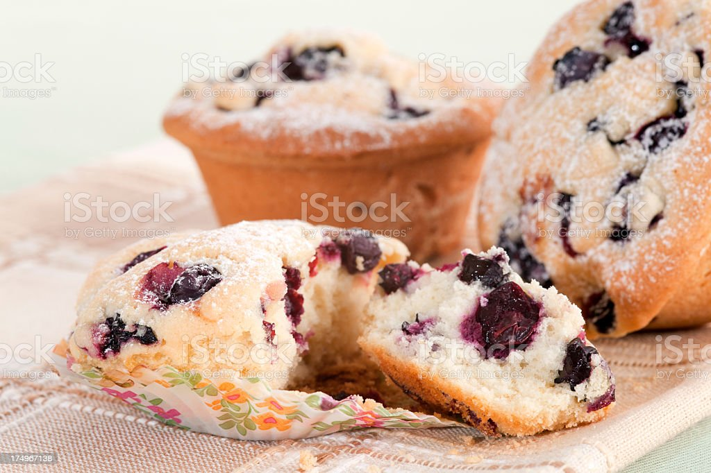 Breakfast with Blueberry Muffins royalty-free stock photo