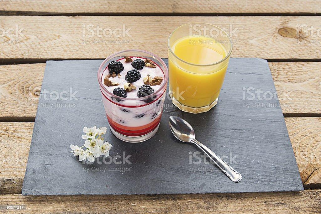 breakfast with blueberry yogurt stock photo