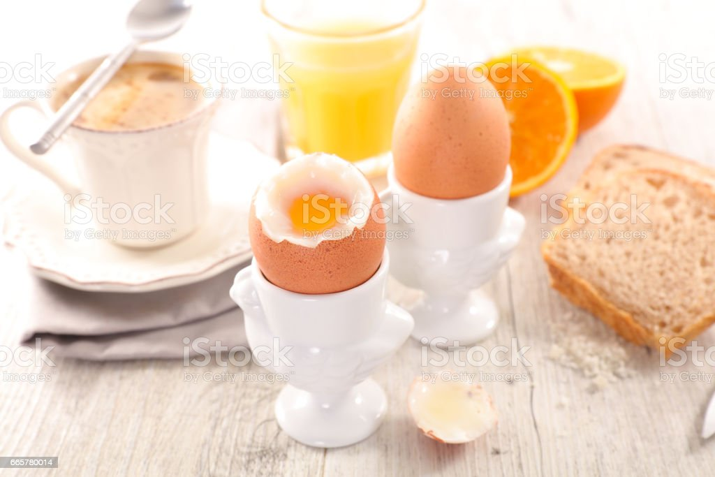 breakfast with boile egg and coffee stock photo