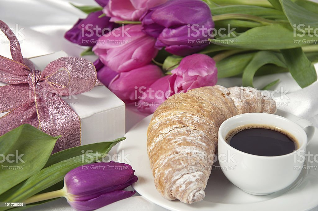 Breakfast with coffee and croissant royalty-free stock photo