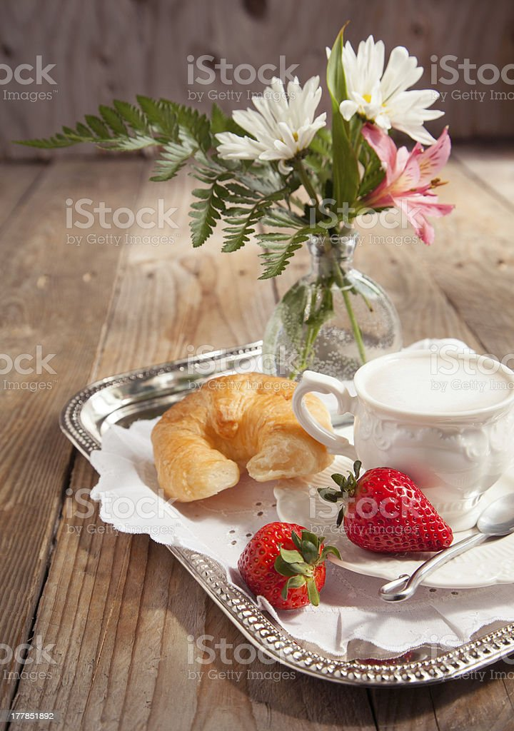 Breakfast with coffee and fresh croissants for mommy royalty-free stock photo