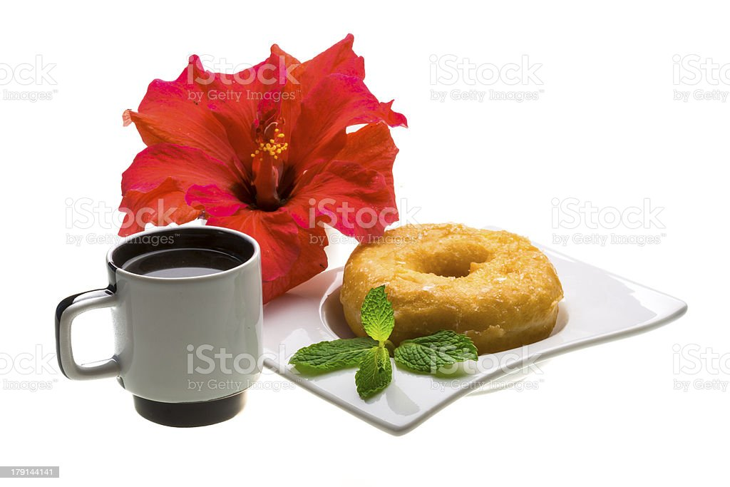 Breakfast with coffee and pastry royalty-free stock photo