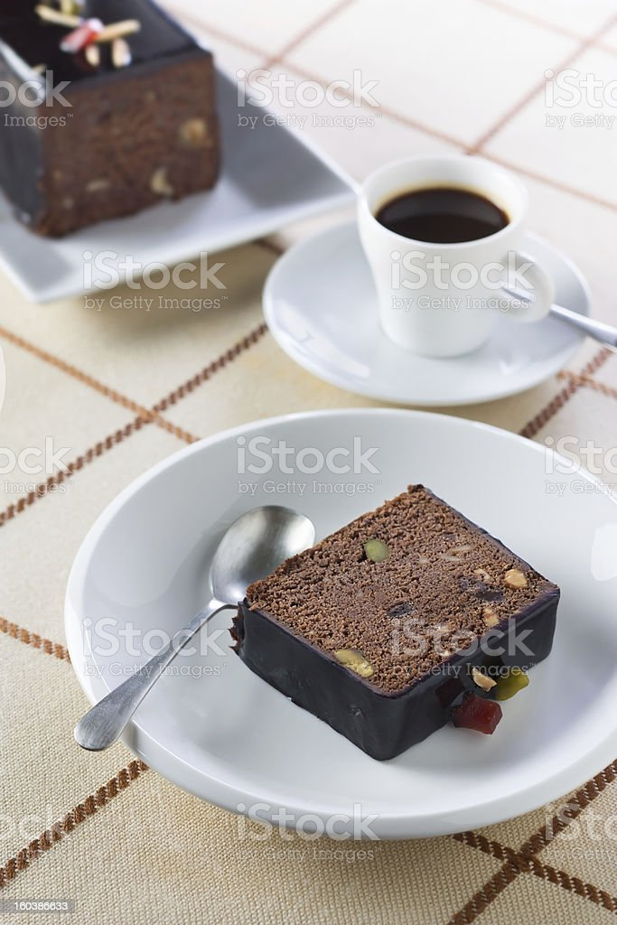 Breakfast with coffee and plumcake royalty-free stock photo