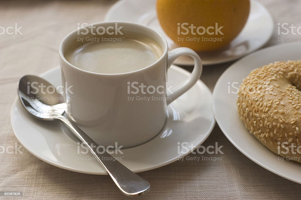 breakfast with coffee stock photo
