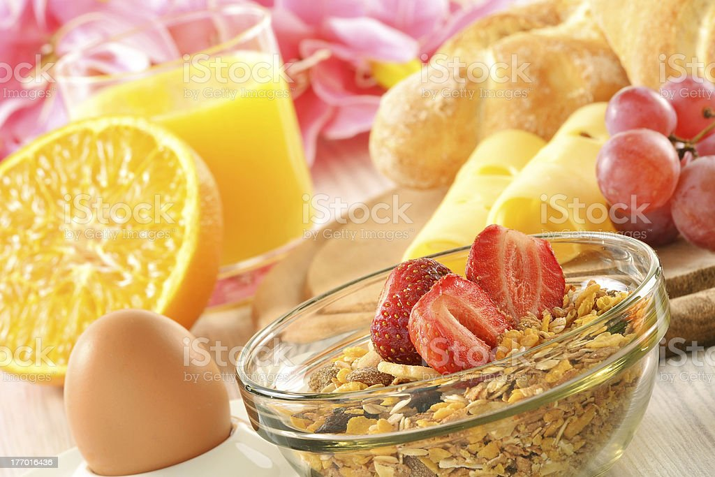 Breakfast with coffee, rolls, egg, orange juice, muesli and chee royalty-free stock photo