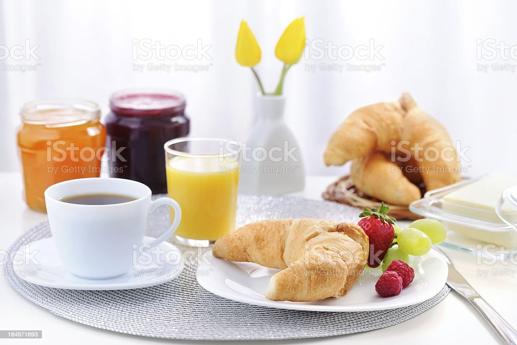 Breakfast with croissant royalty-free stock photo