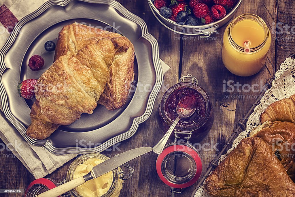 Breakfast with Croissants stock photo