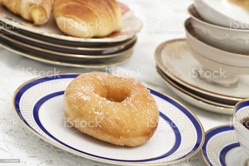 breakfast with donut royalty-free stock photo