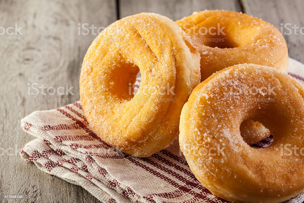 Breakfast with donuts and honey stock photo