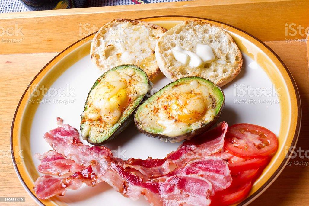 Breakfast with Eggs on Avocado royalty-free stock photo