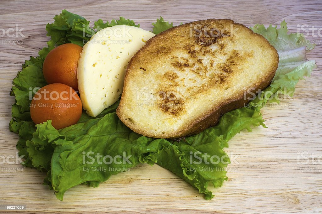 Breakfast with eggy bread stock photo