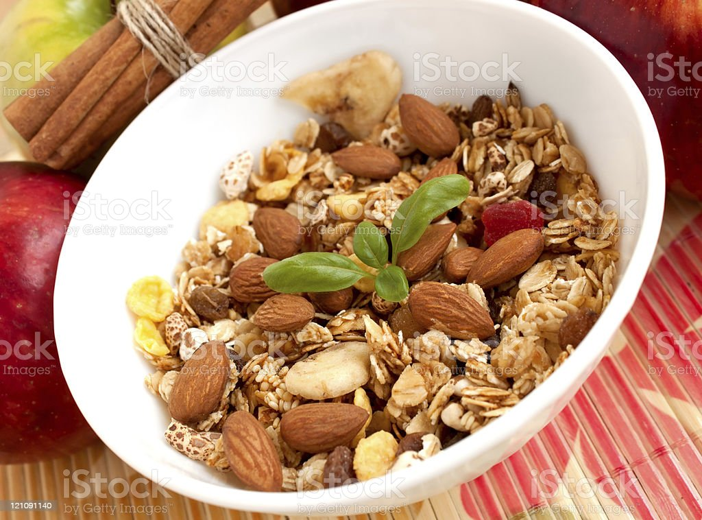 Breakfast with fresh muesli royalty-free stock photo