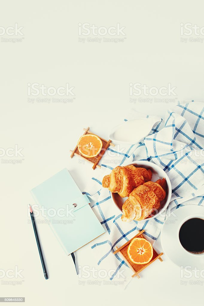 Breakfast with Freshly Baked Croissants stock photo