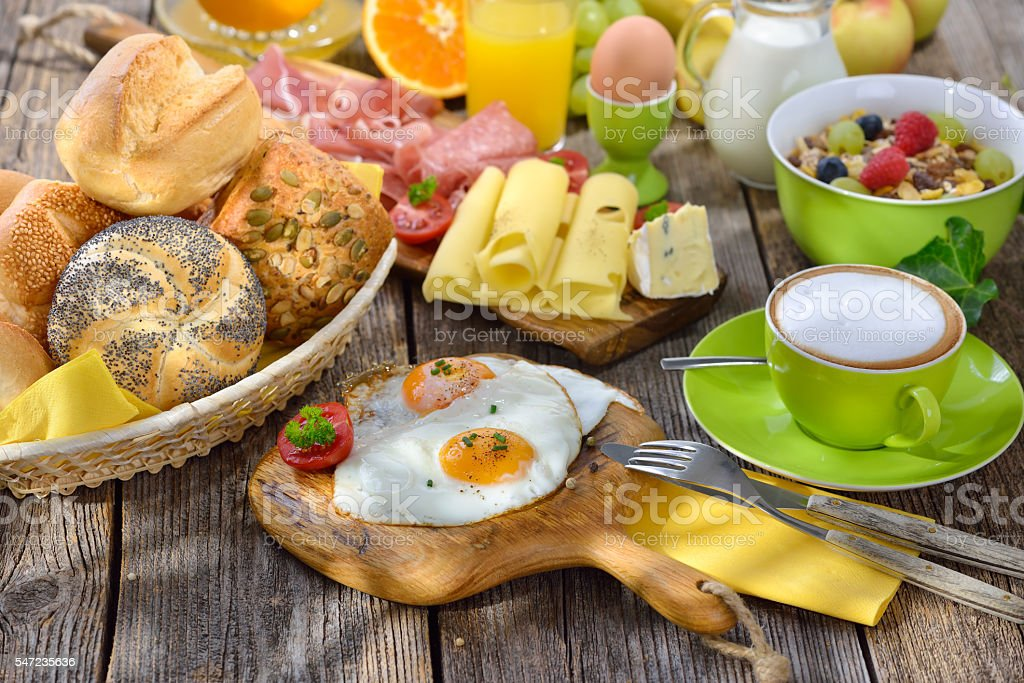 Breakfast with fried eggs stock photo