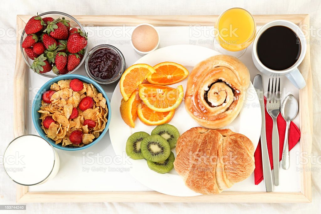 Breakfast with fruit and bread items stock photo