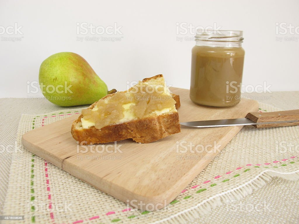 Breakfast with fruit spread from pears and soda bread stock photo