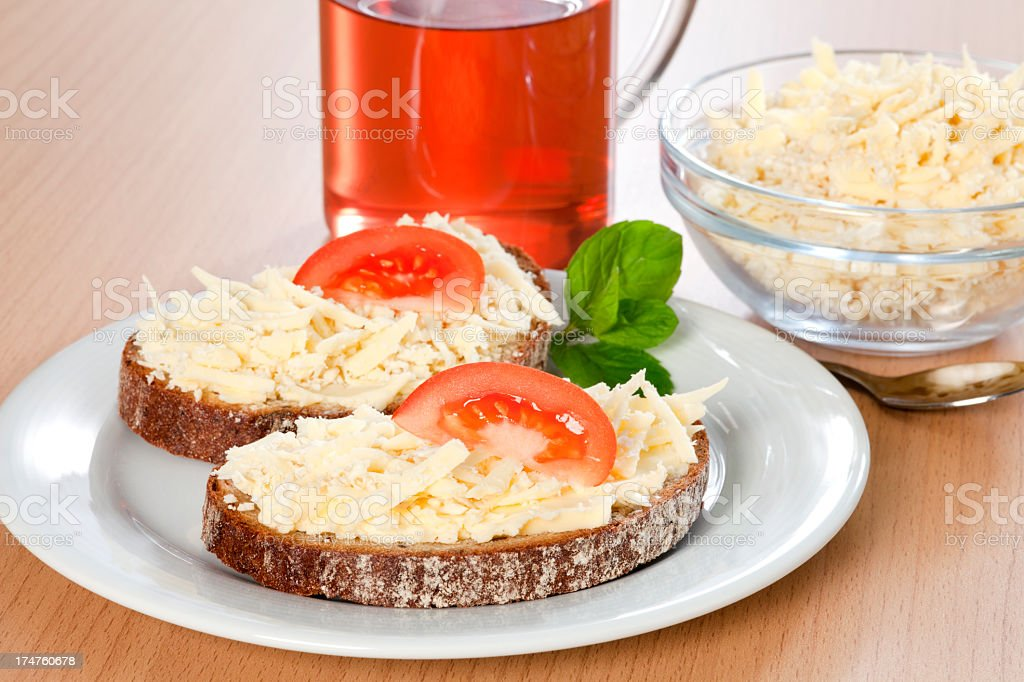 Breakfast with grated cheese royalty-free stock photo