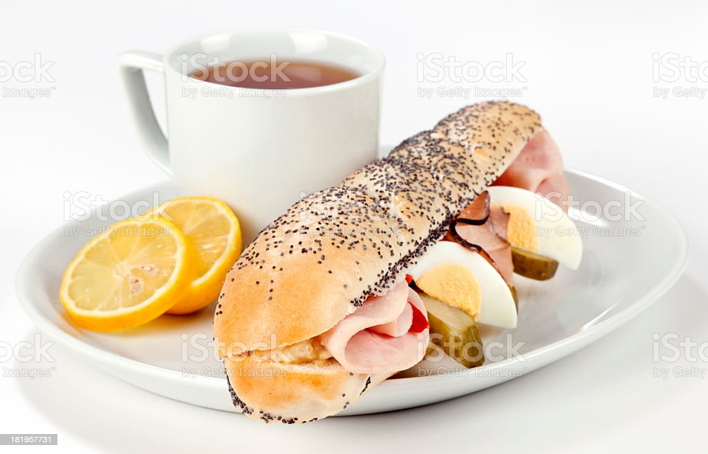 Breakfast with ham sandwich royalty-free stock photo