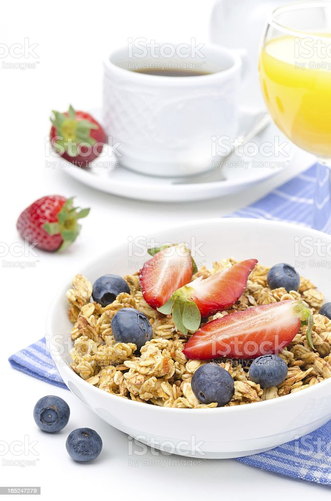 breakfast with homemade granola and fresh berries royalty-free stock photo