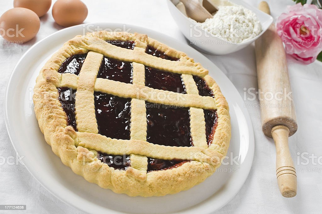 Breakfast with jam tart in white dish. royalty-free stock photo