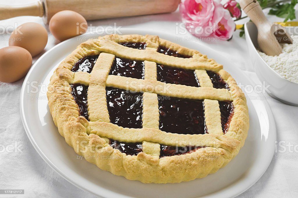 Breakfast with jam tart in white dish. royalty-free stock photo