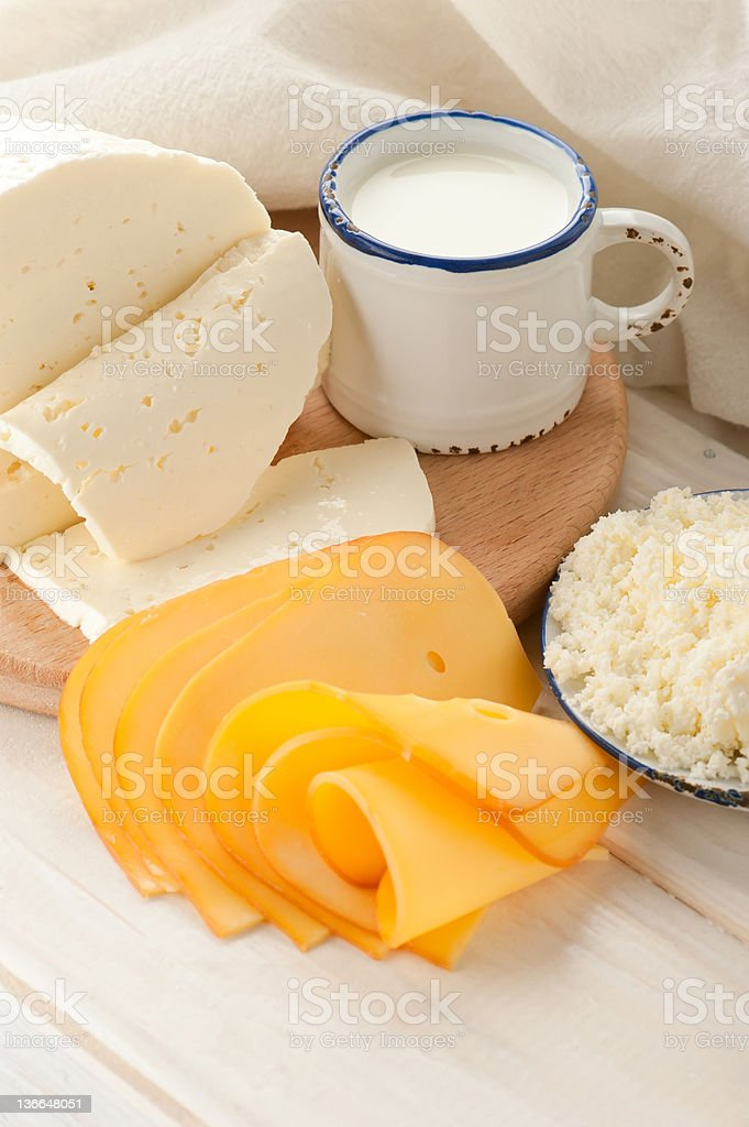 Breakfast with milk and cheese royalty-free stock photo