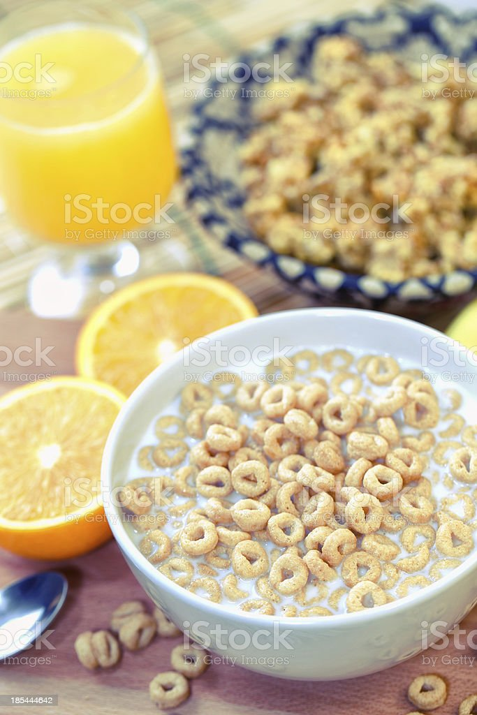 Breakfast with milk, cereals an orange juice stock photo