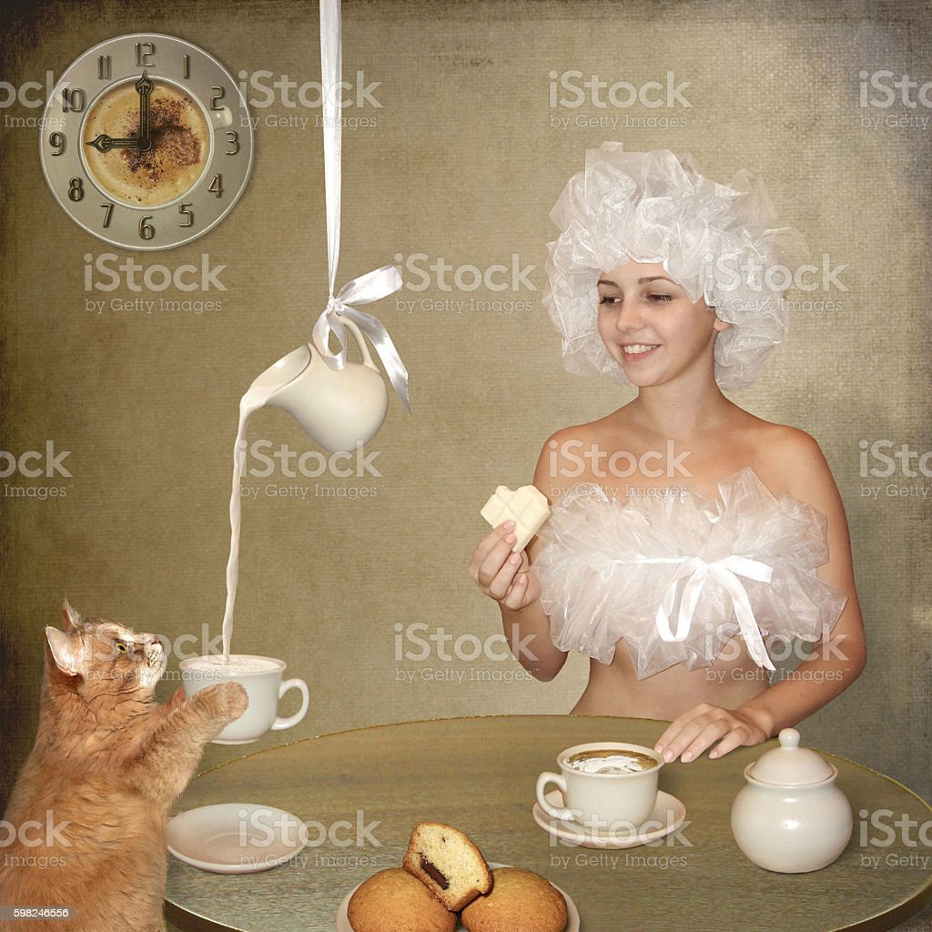 Breakfast with milk stock photo