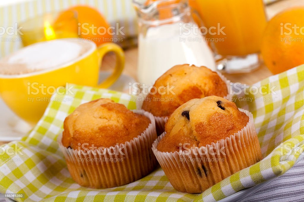 breakfast with muffin,coffee,milk and orange juice royalty-free stock photo