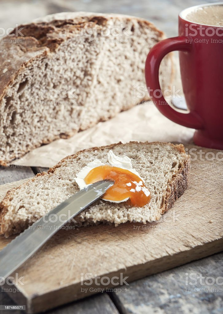 Breakfast with pear jam and bread royalty-free stock photo
