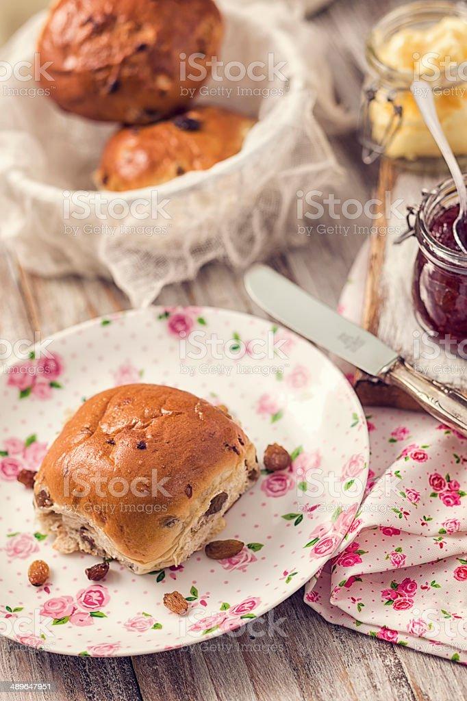 Breakfast with Raisin Buns stock photo