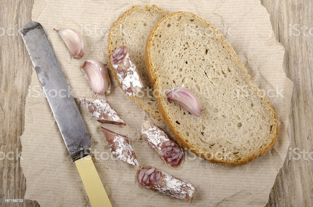 breakfast with salami and bread royalty-free stock photo