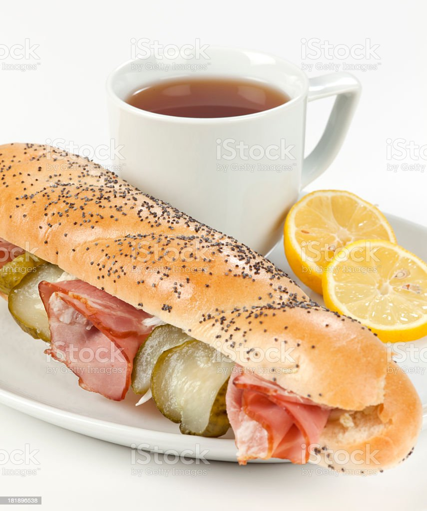 Breakfast with sandwich royalty-free stock photo