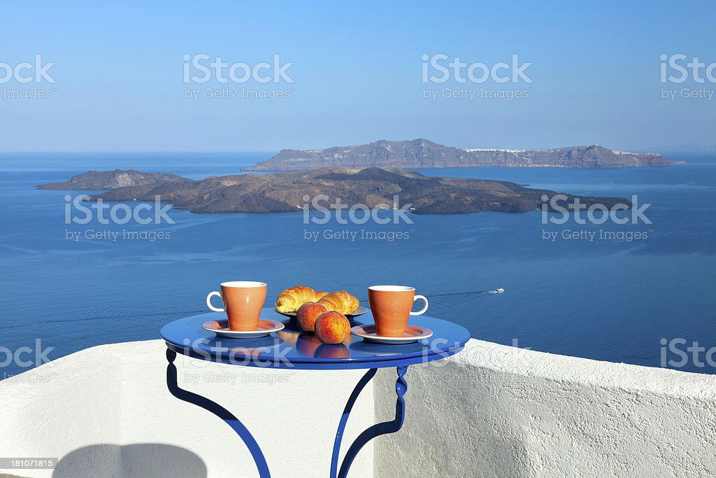 Breakfast with seaview and Caldera view. stock photo