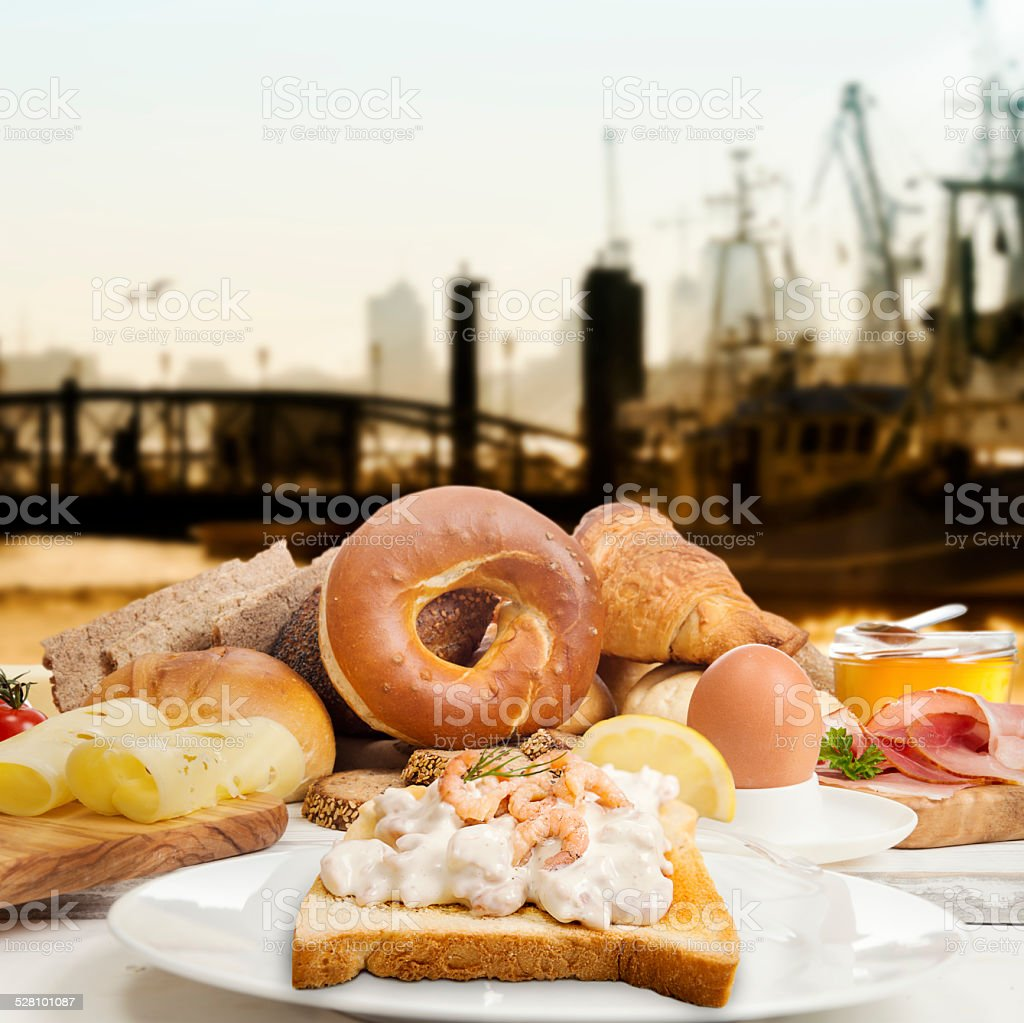 Breakfast with shrimp salad on toast ham, cheese, jam, egg stock photo