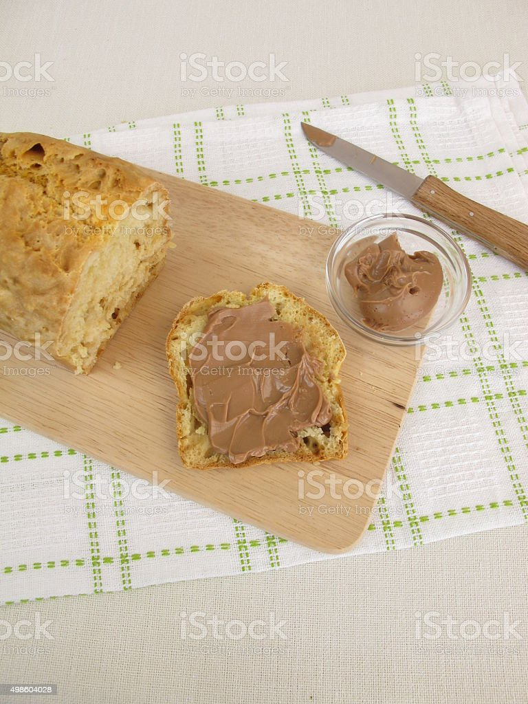 Breakfast with soda bread and chocolate-nuts spread stock photo
