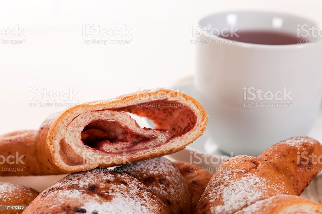 Breakfast with sweet pastry and tea royalty-free stock photo