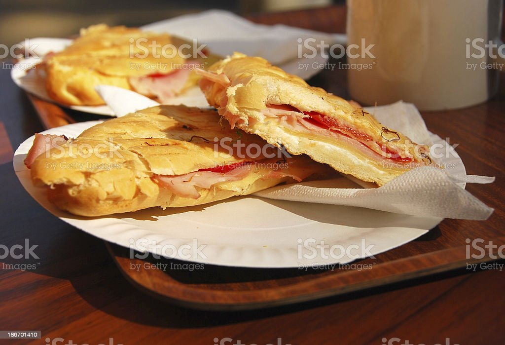 Breakfast with toasted Baguette royalty-free stock photo