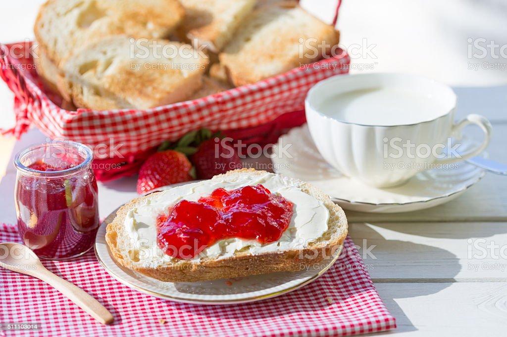Breakfast with toasts stock photo
