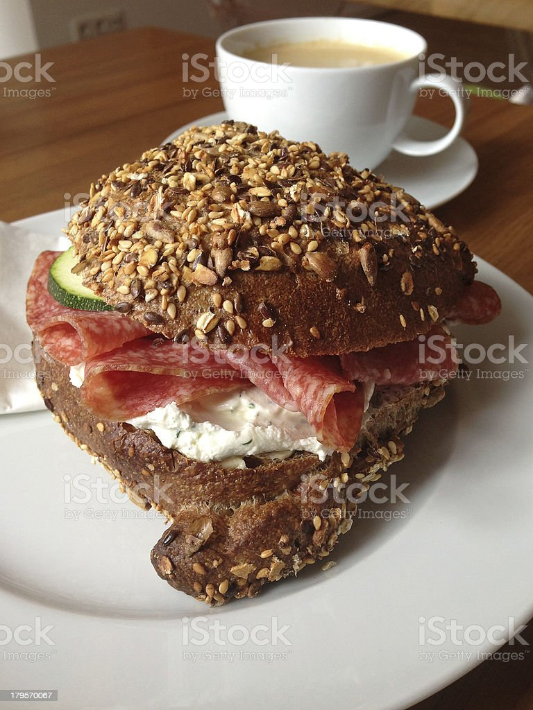 Breakfast with Whole Wheat Bagel Sandwich and Coffee royalty-free stock photo
