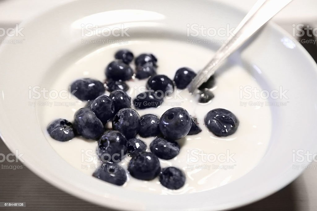 breakfast with yogurt stock photo