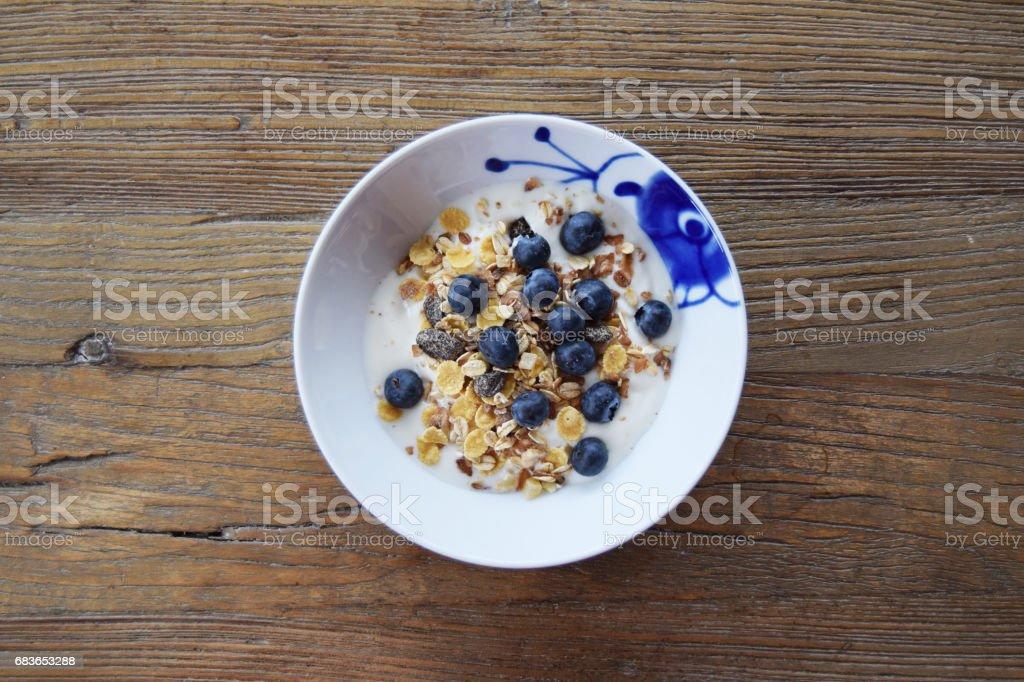 Breakfast yogurt centre stock photo