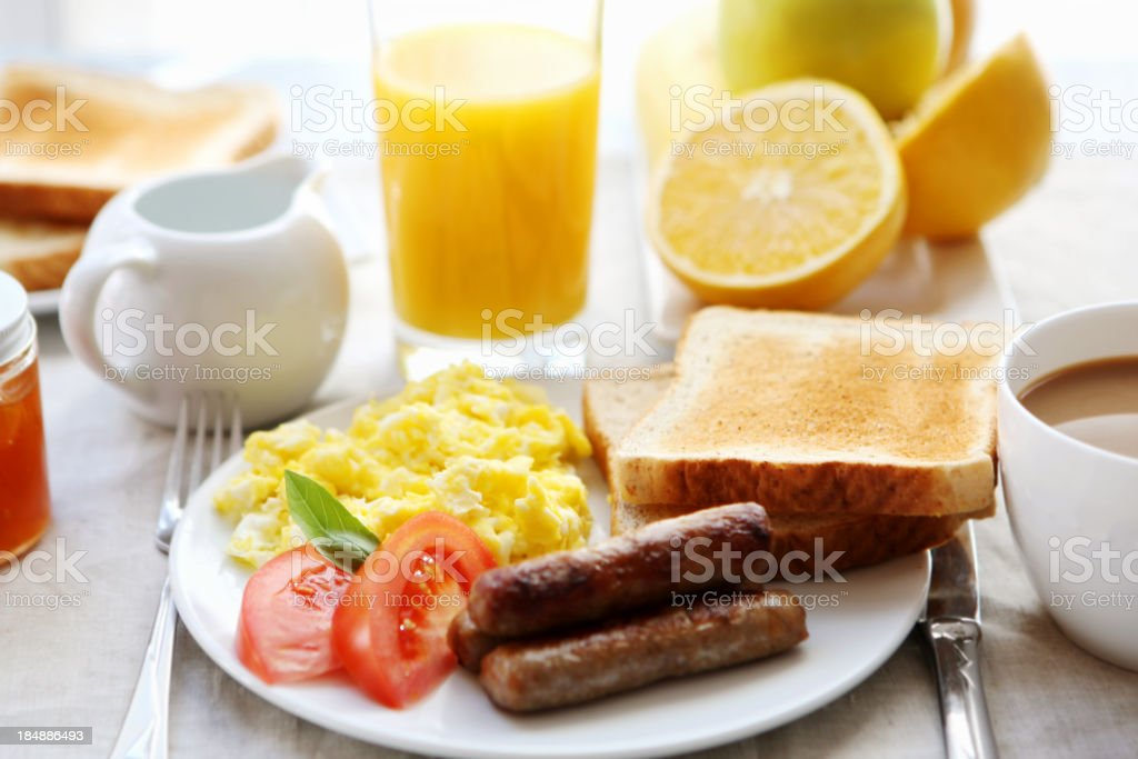 breakfast-eggs sausage and toast royalty-free stock photo