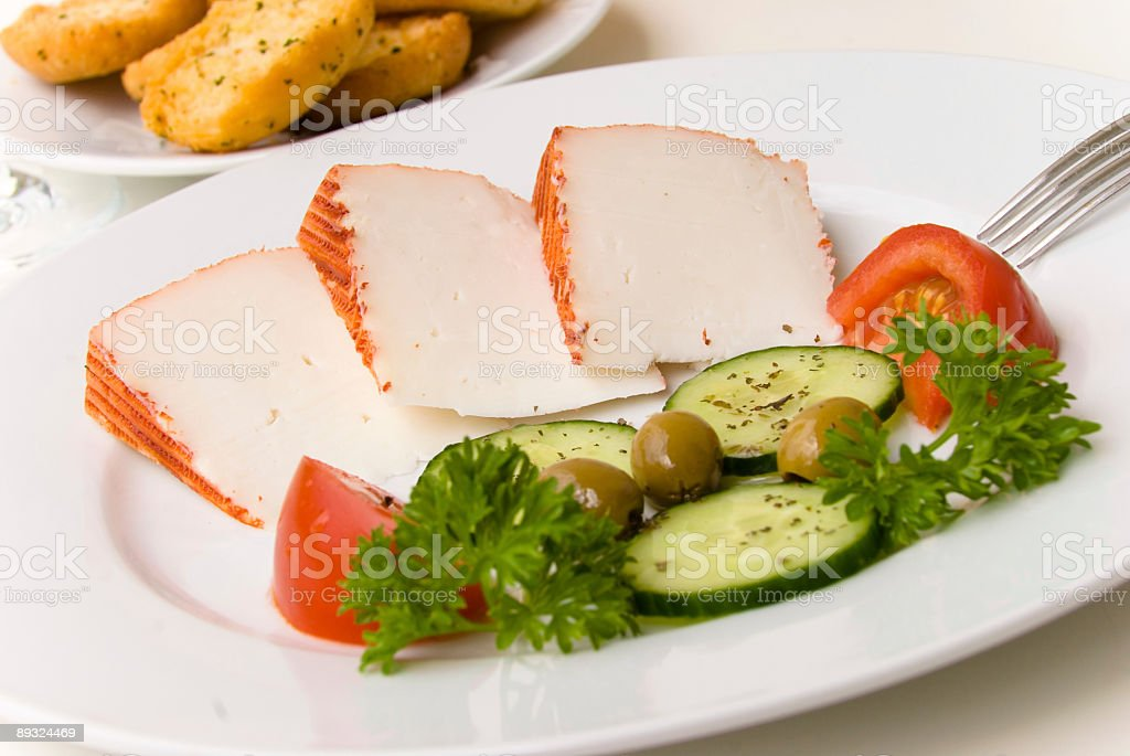 Breakfast-Spanish Goast Cheese with Tomato and Olive stock photo