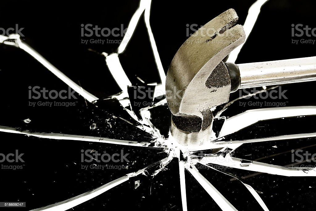 breaking a glass stock photo