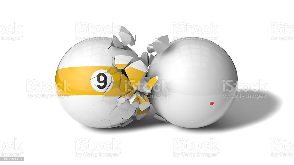 breaking billiard ball (ninth ball) stock photo