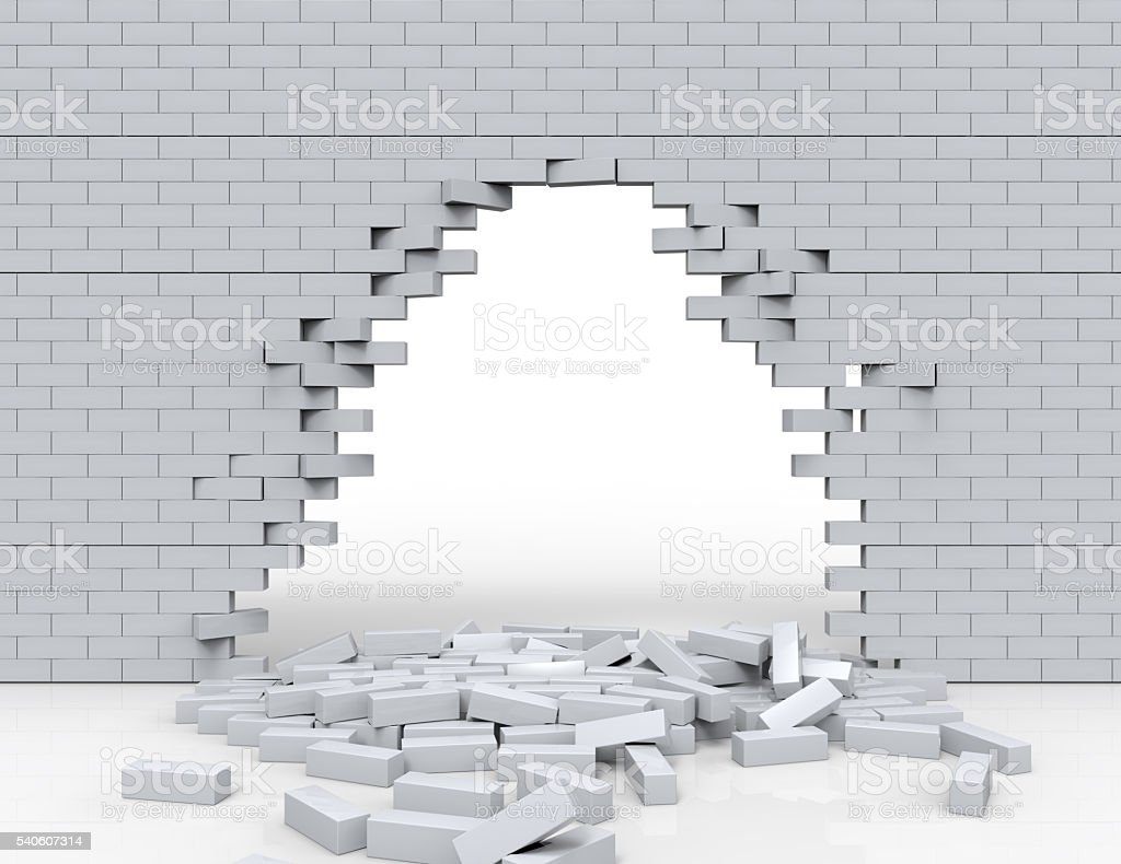breaking brick wall, high resolution 3d rendering stock photo