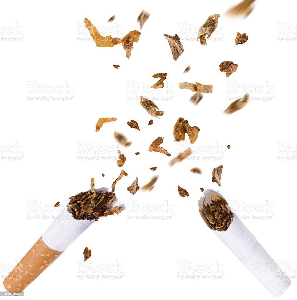 Breaking cigarette, quit smoking stock photo