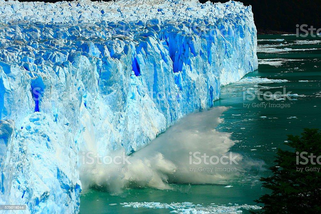 Breaking collapsing Glacier Perito Moreno, Patagonia Argentina, El Calafate stock photo