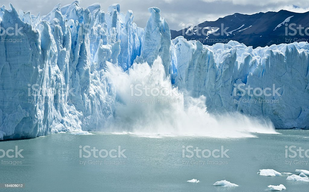 breaking ice formations falling from Perito Moreno Glacier stock photo